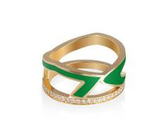 Bil Arabi- Enamel and Gold Ein Letter Ring