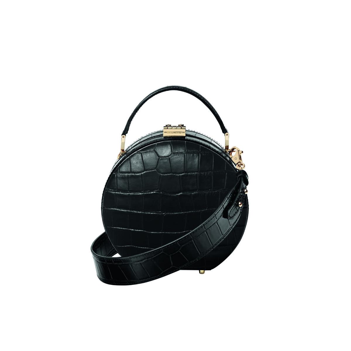 Hat Box Mini Black Croc - Aspinal SS18