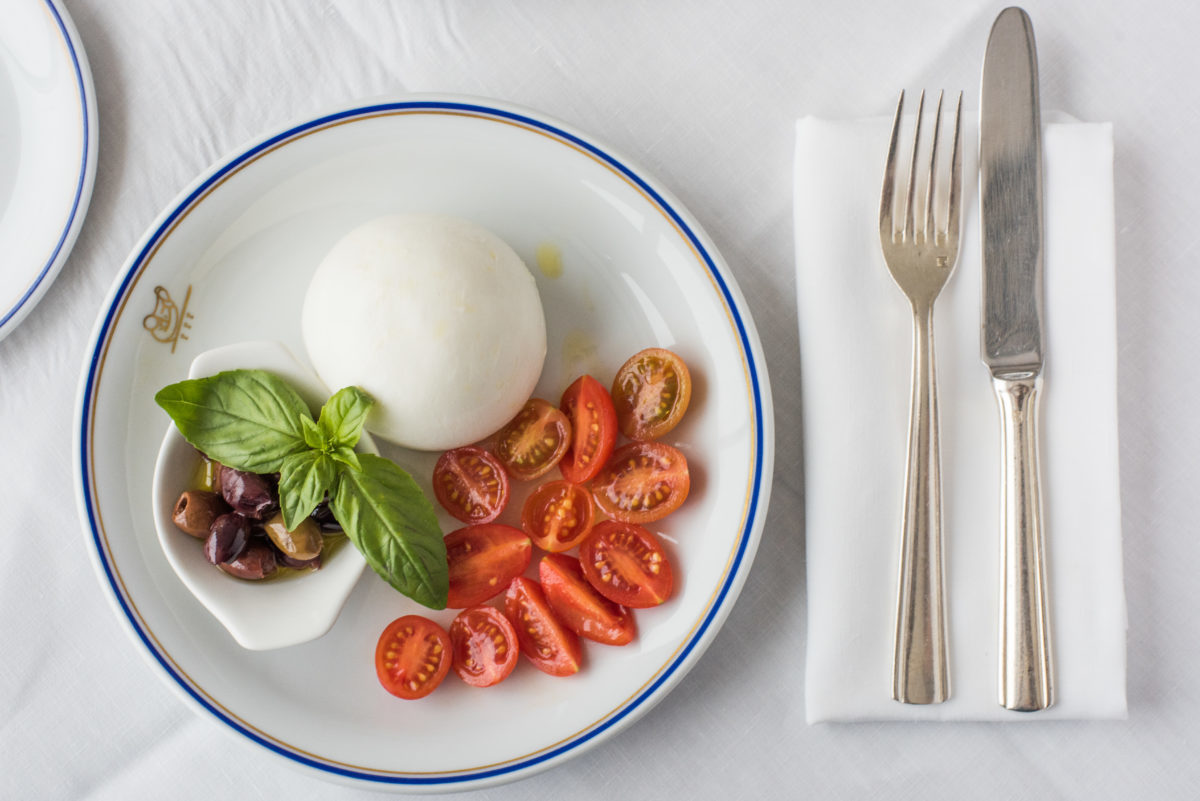 Fresh Burrata with Cherry Tomatoes and Taggiasche Olives